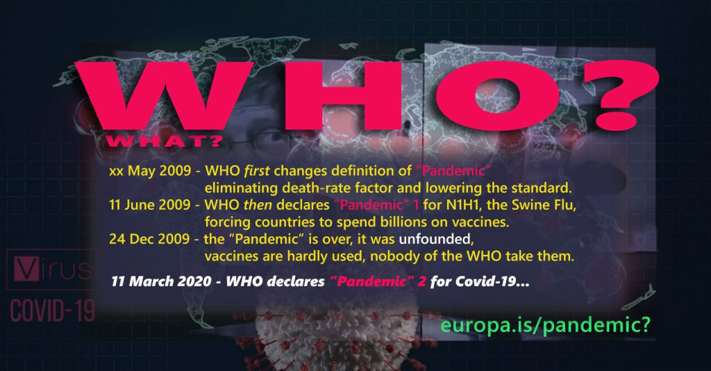 "WHO lowers standard of ""Pandemic"" definition for Swine Flu in 2009"