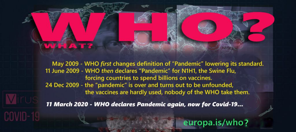 "WHO lowers standard of ""Pandemic"" definition for Swine Flu in 2009 (NL►EN/ES/IT/NL)"